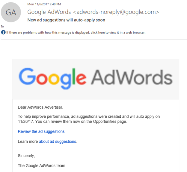 email to adwords advertiser discussing new ad suggestions that are auto-applying