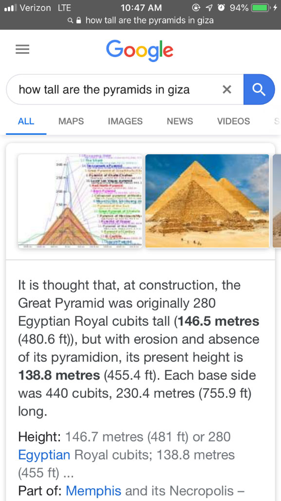 Google search engine result page on mobile device with query how tall are the pyramids in giza